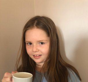 Girl holding bunny mug