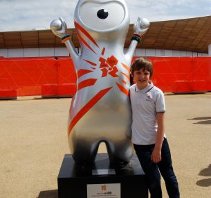 liam with Olympic mascot