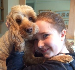 Maisie girl with dog