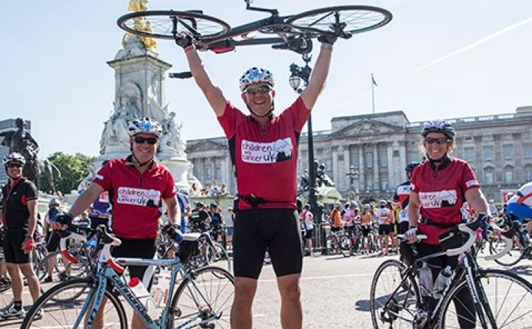 cyclists on the finishing line