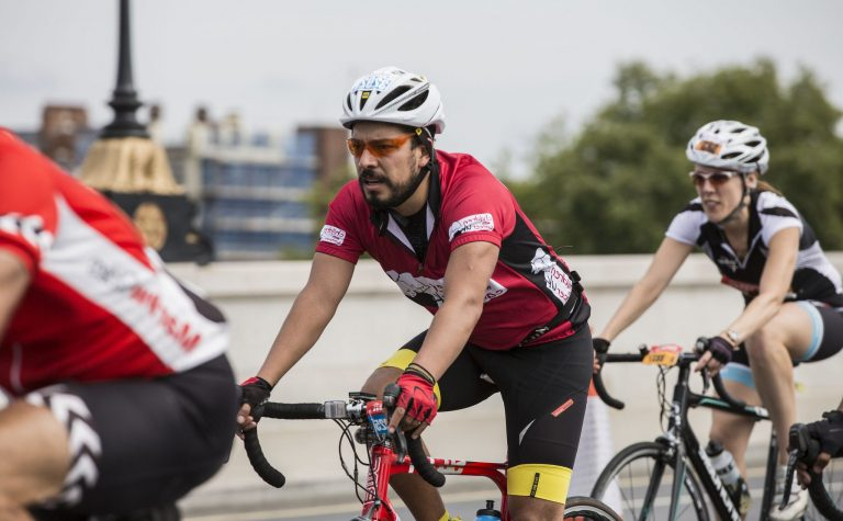 Cyclists focusing ahead