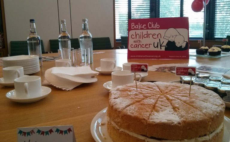 A bake club table with Victoria sponge