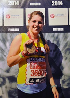 Courtenay running the London Marathon following recovery from hodgkin lymphoma