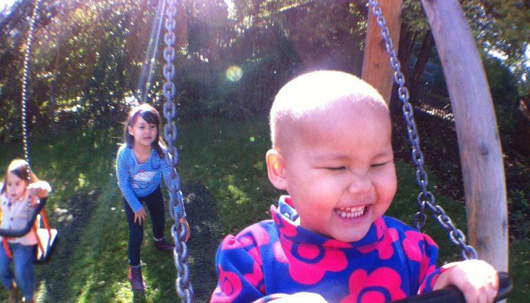 Vega enjoys going on some swings