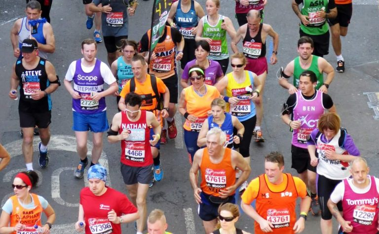 Birds eye view of marathon runners
