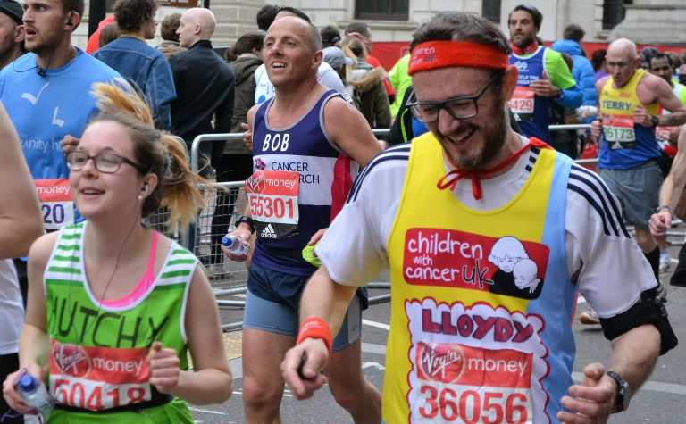 Group of people who have london marathon charity places