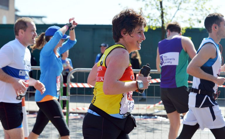 People with london marathon charity places running the race