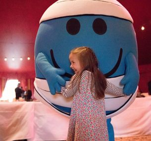 Mr Men and little girl at Zippos Circus