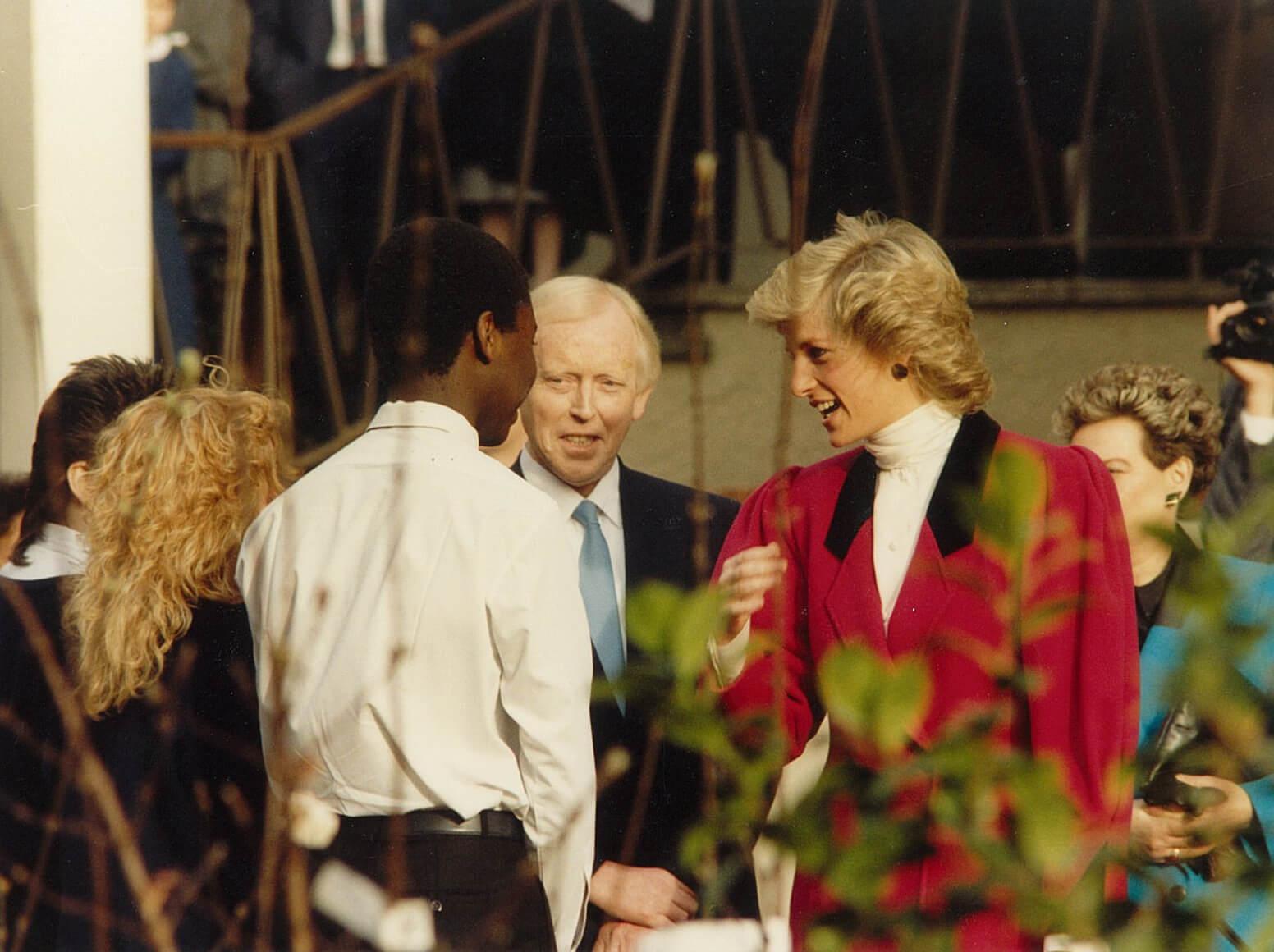 Princess Diana talking to children