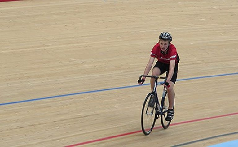 Cyclist on a velodrome