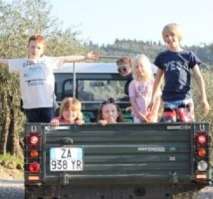a truck and kids