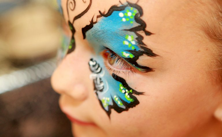 Close up of a girls face paint