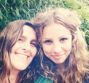 nicol and martha two ladies selfie smiling long hair green top