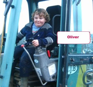 oliver boy on a digger, tractor machine