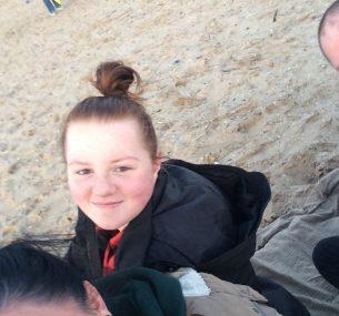girl with mum on the beach