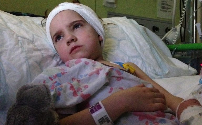 Matilda in hospital after surgery