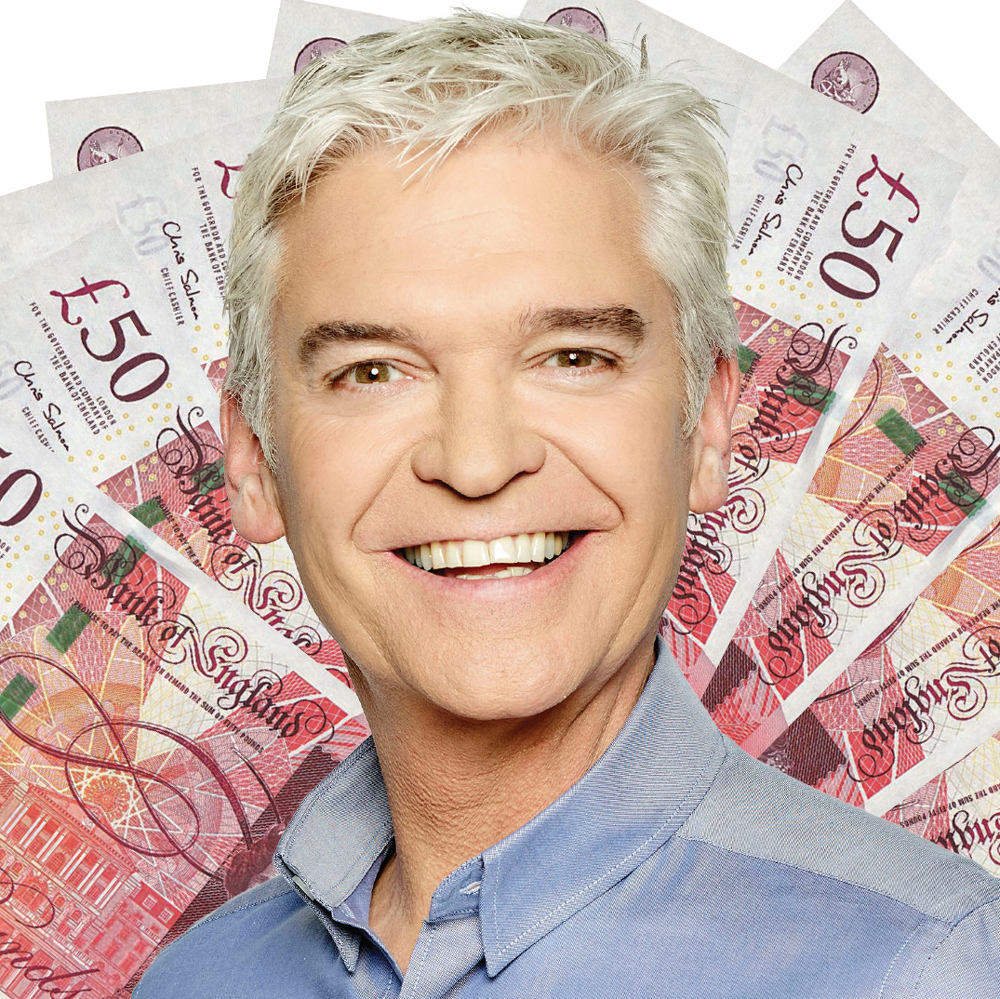 Phillip Scholield in front of a fan of £50 notes