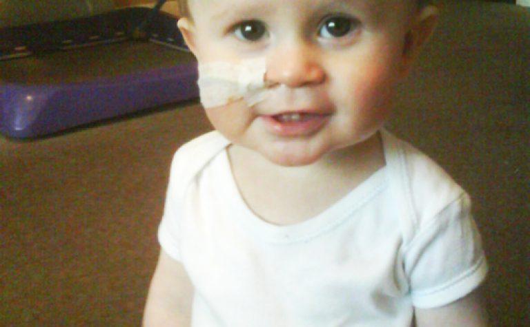 Luke as a baby in hospital
