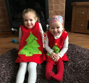 Girls in christmas dresses