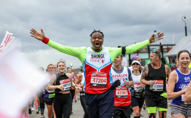 Our runner feels the elation of completing his run