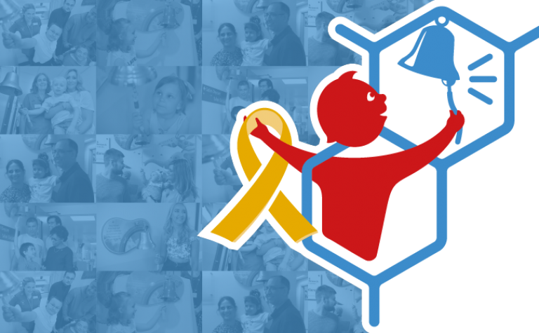 Logo of child ringing the bell and with a gold ribbon