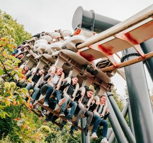 The children on a scary ride at Alton Towers