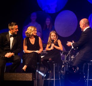 Pete, Rachel and Suki Corbett with Mark Brider at the Children with Cancer UK Ball 2019