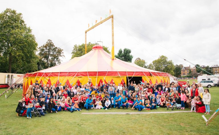 All the children with cancer and their families outside Zippos circus big top