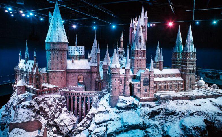 Hogwarts castle model in the snow