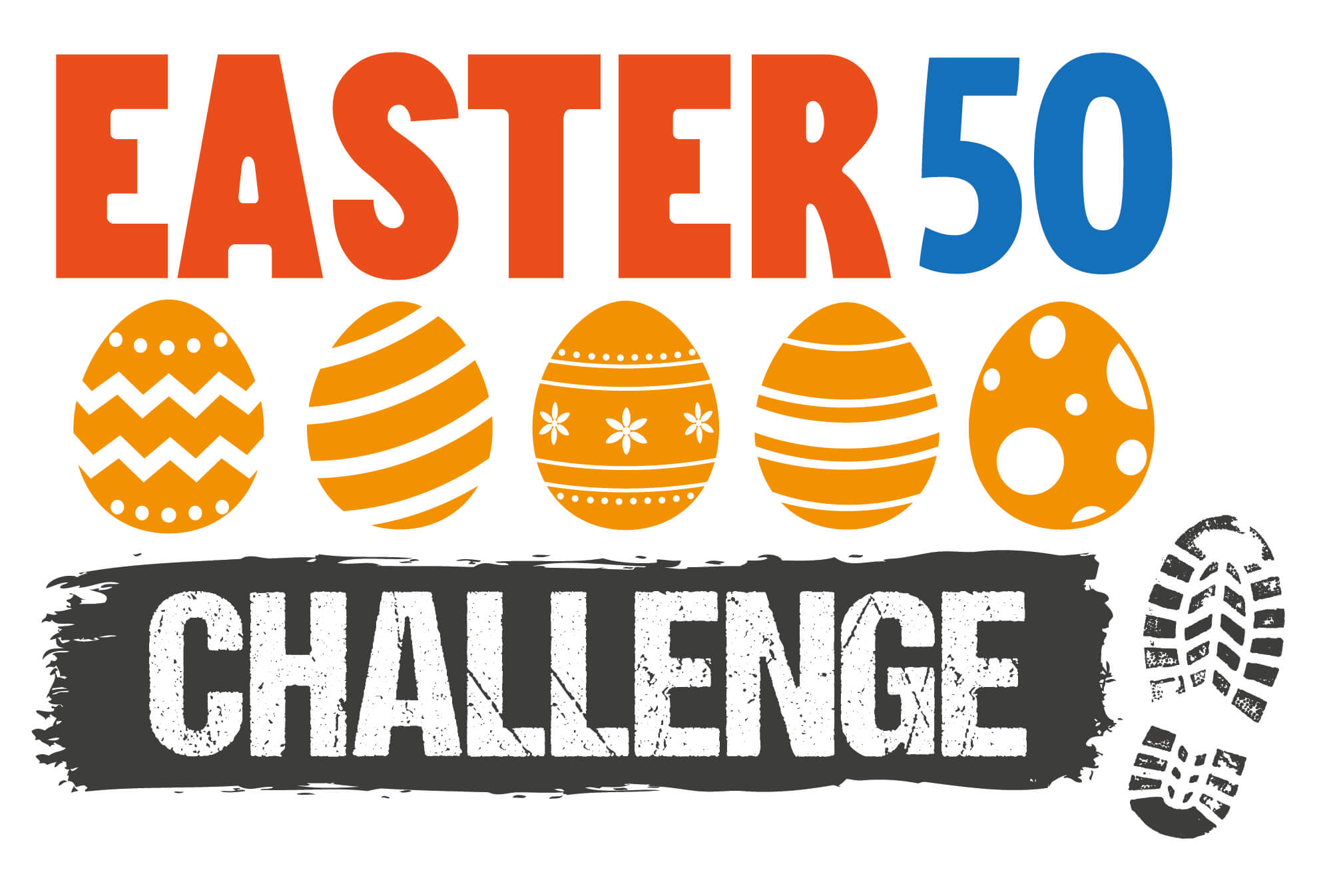Easter Challenge 50 Logo with easter eggs
