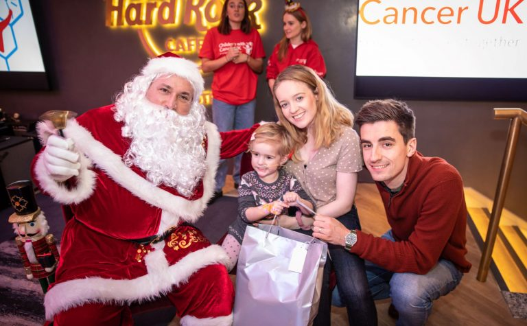 Lily and family meet Santa at Christmas event London