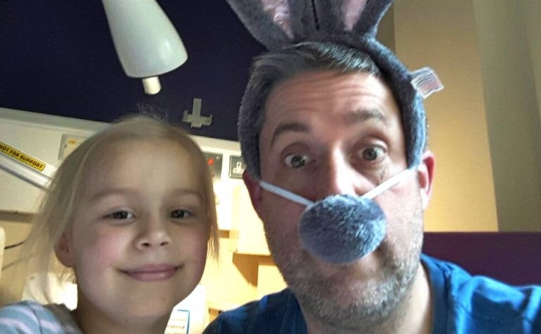 Suki and dad at Easter in hospital