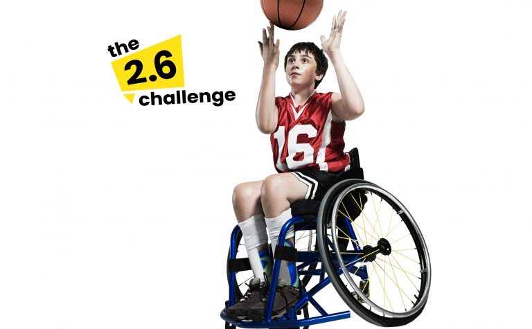 Basketball Wheelchair child with 2 point 6 logo