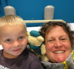 Ollie and his mum in hospital