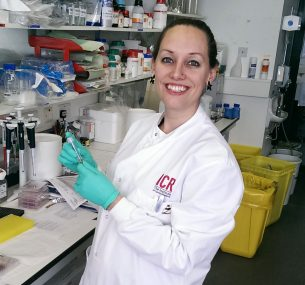 Dr Zoë Walters in the lab conducting rhabdomyosarcoma research.