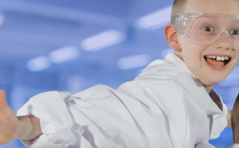 Little boy dressed as a scientist