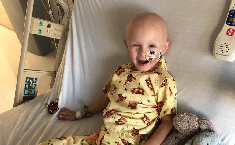 Gaspard receiving treatment for rhabdomyosarcoma, in hospital
