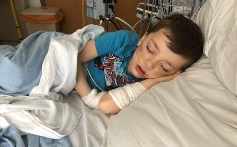 Thomas sleeping in hospital