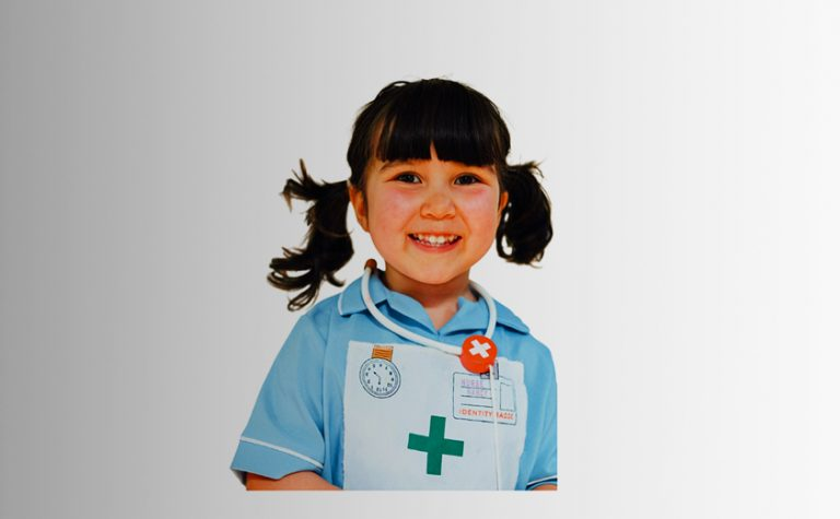 astrid girl wearing nurses costume smiling at camera