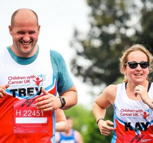 Man and woman running a half marathon for charity Kay and Trev 1