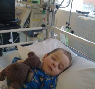 Harry in bed after First Chemo