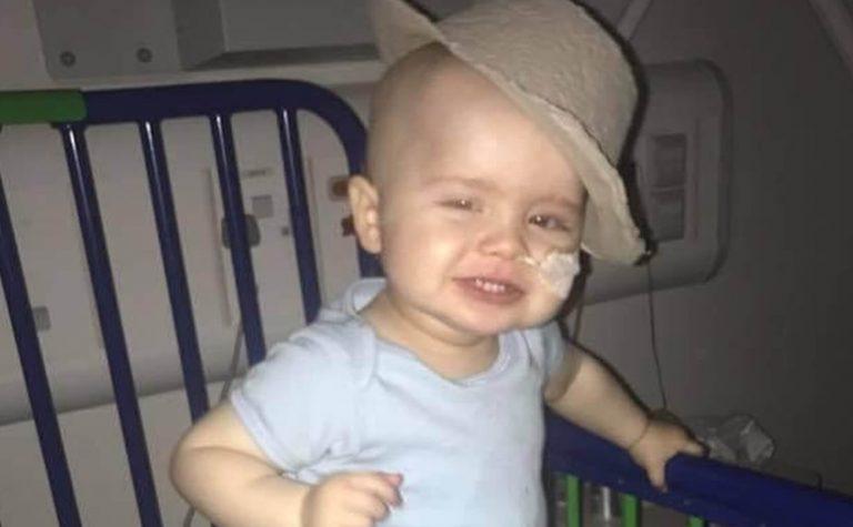 frankie wearing a sick bowl hat in hospital (1)