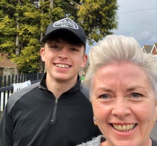 felix with his mum Kerry 2021