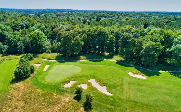 Golf 11th green aerial shot.