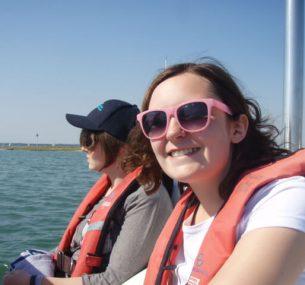 chloe sailing with sunglasses