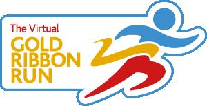 Virtual gold ribbon run logo Master RGB
