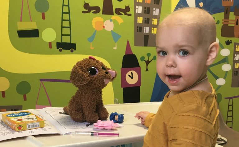Sophia in her hospital ward